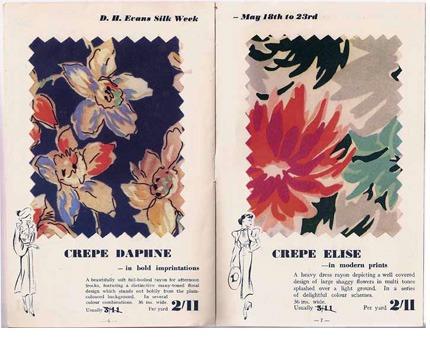 Image of D H Evans floral textile sample