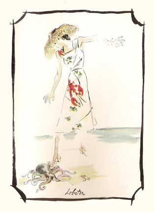 Schiaparelli Lobster dress illustration from Vogue