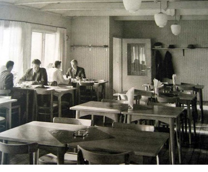 Vintage black and white photograph of Swedish Konsum co-op