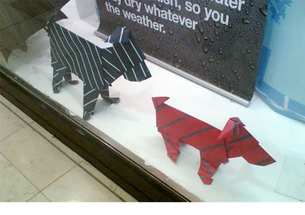 Photograph of Marks and Spencers origami paper dogs