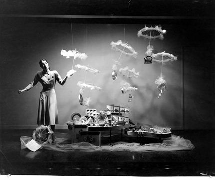 Black and white photograph of window display at Eatons Department Store