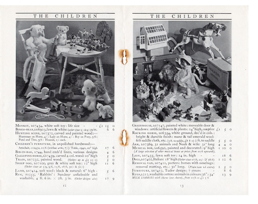Heals furniture for childrens page of 1930s booket