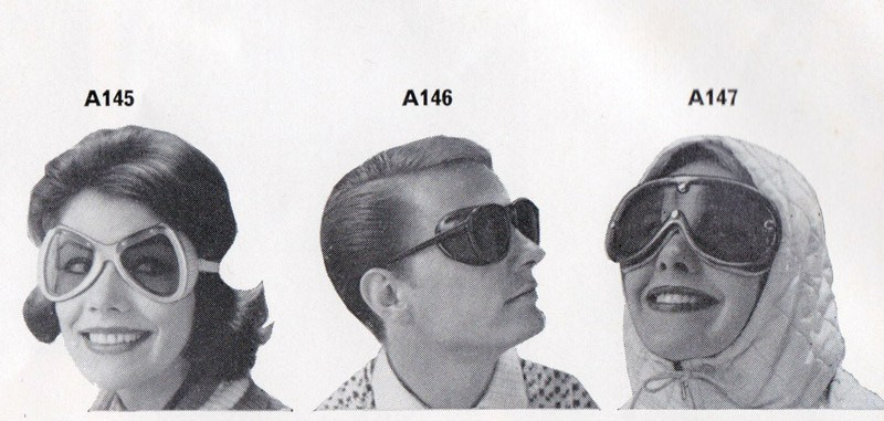 Goggles in a Moss Bros ski brochure from 1961