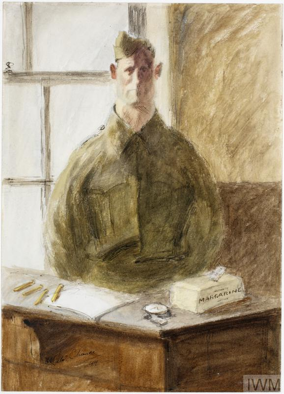 Miles Chance watercolour A Court-Martial : Prisoner in the witness box