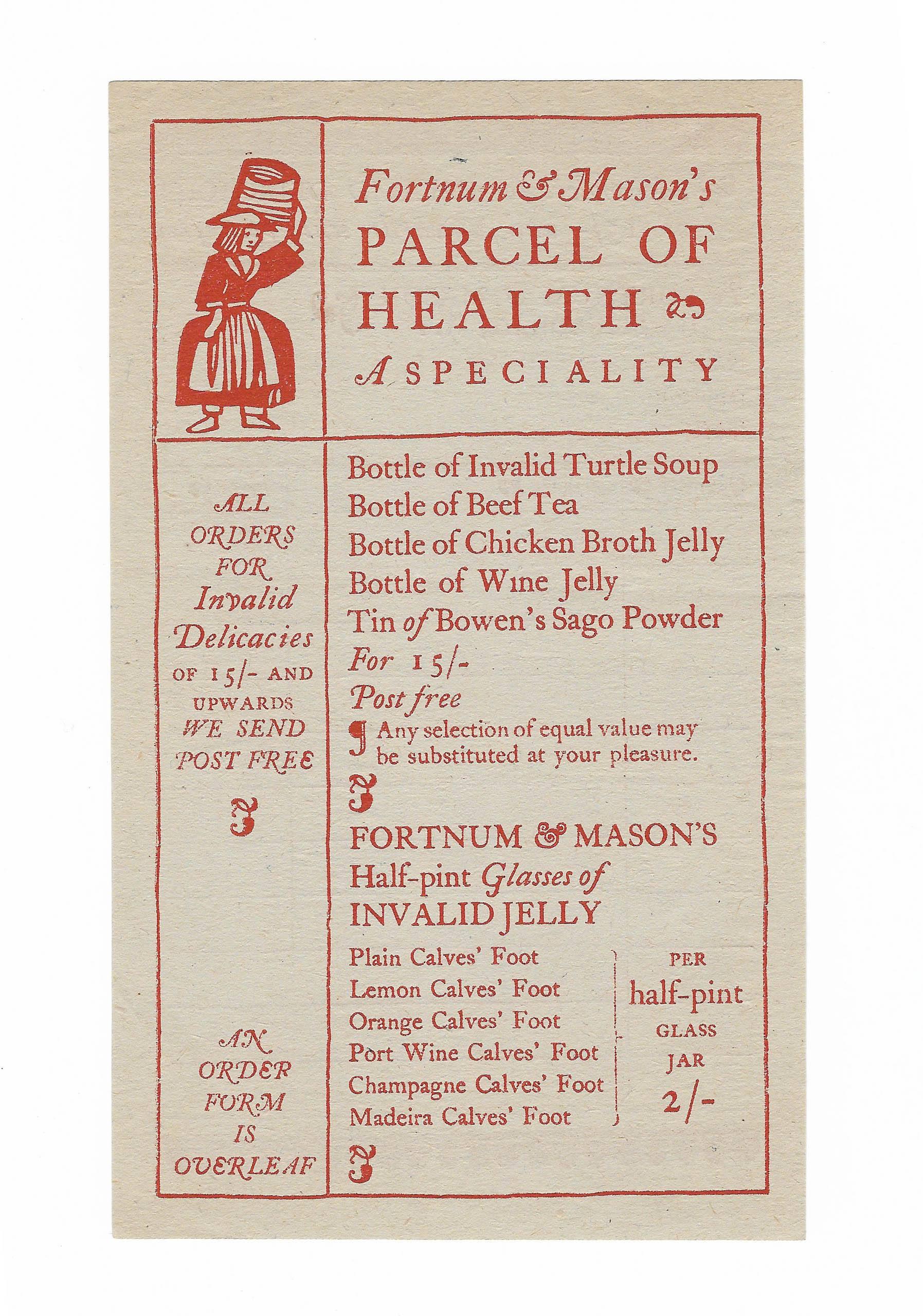 Fortnum & Mason Invalid Delicacies order paper 1920s
